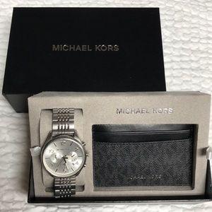 Michael Kors Oversized Watch & Card Case Combo